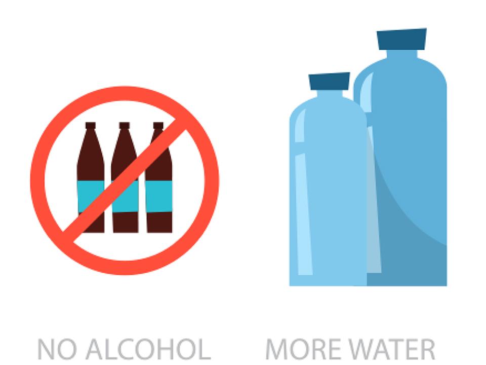 アルコール禁止、水を飲もう