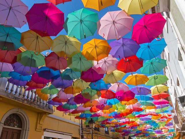 傘がたくさん並んだ写真