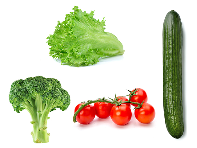 ブロッコリー、きゅうり、トマト、レタス