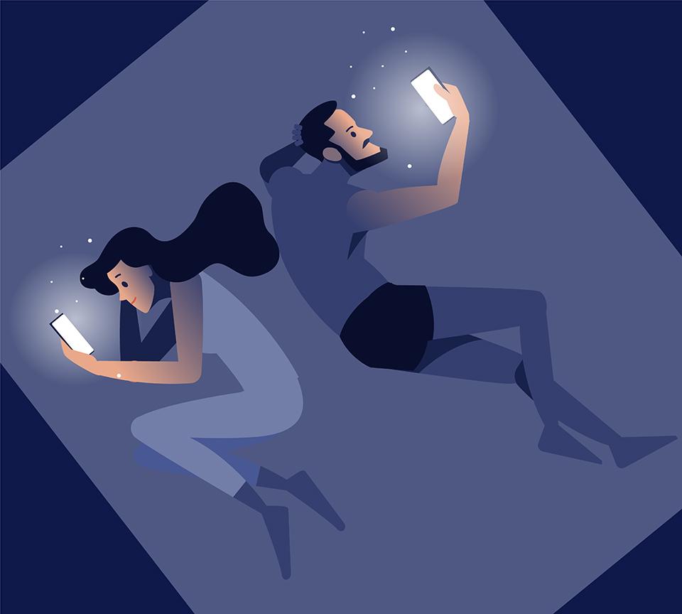 寝る前にスマホを見る人