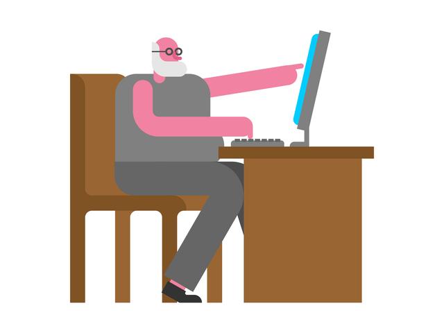 パソコンを使う老人