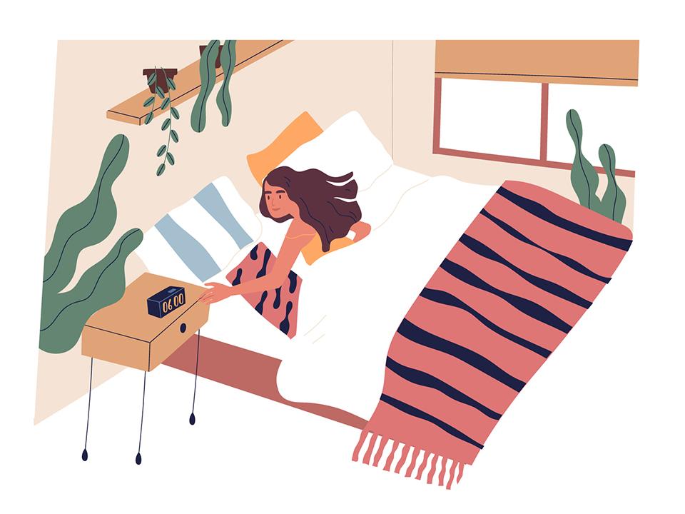 早朝に起きる女性