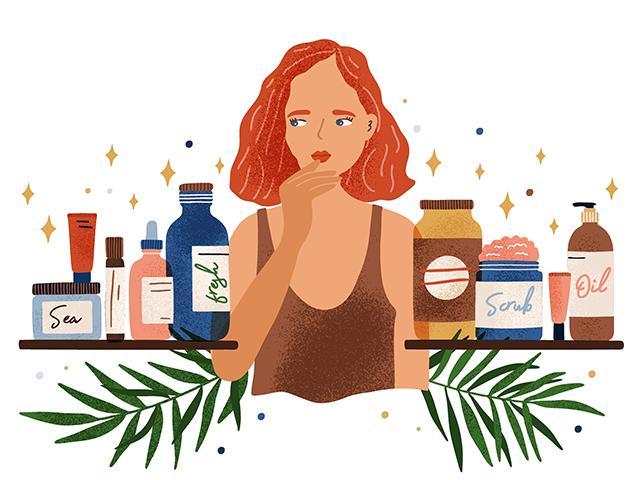 化粧品選びに悩む女性