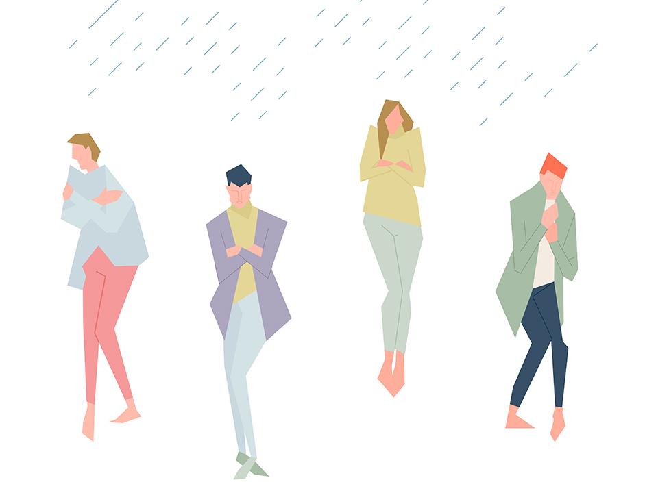 雨で寒い人たち