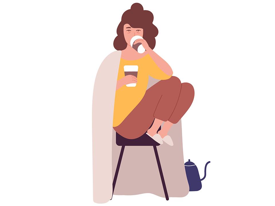 カフェイン中毒の女性