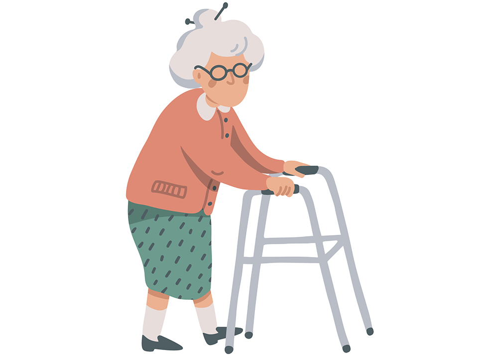 歩くおばあさん
