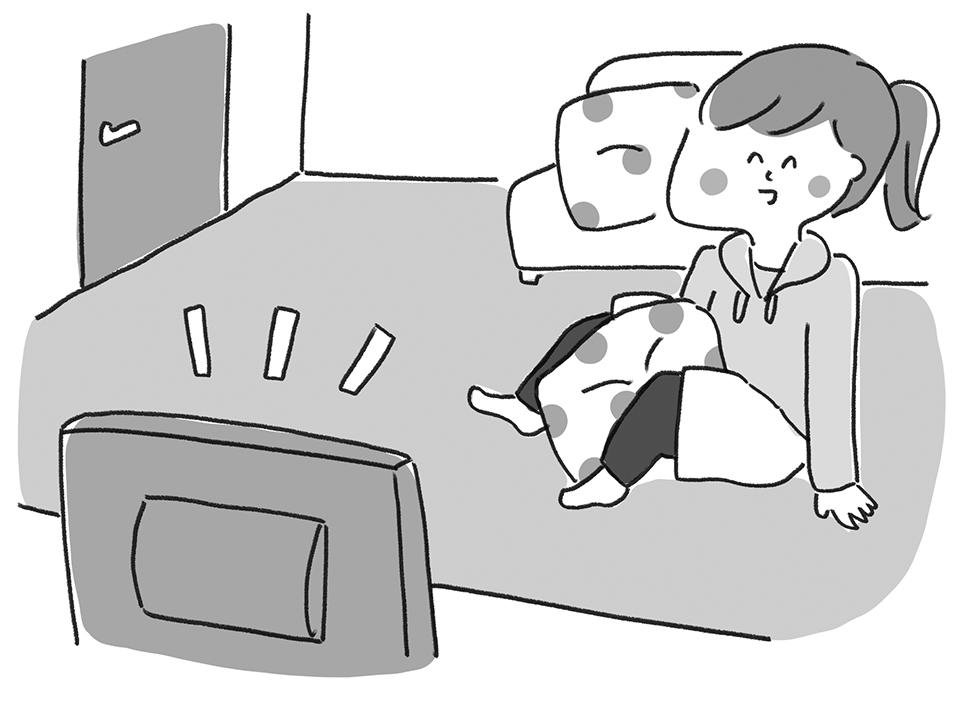 テレビを観ながら内転筋強化「クッション挟み」