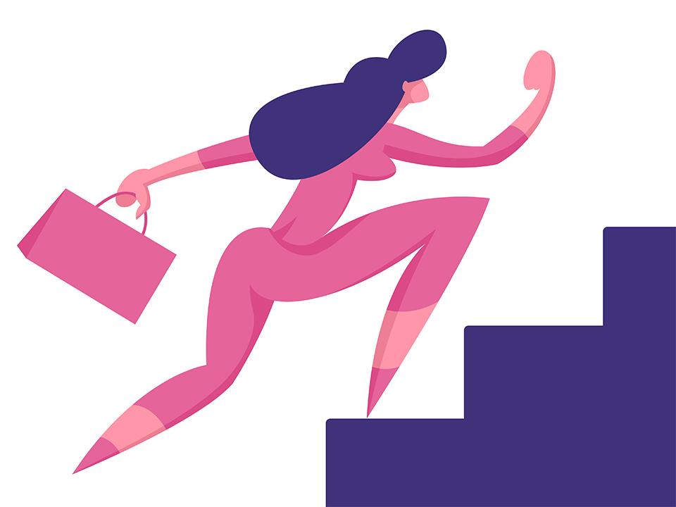 階段を駆け上がる女性
