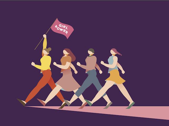 行進する女性たちのイラスト