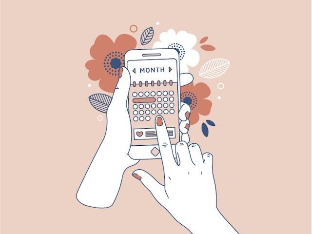 女性用アプリを使っている手のイラスト