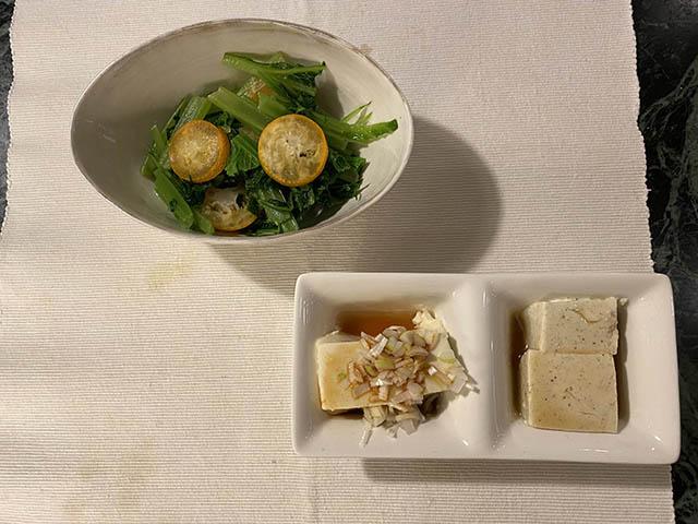 わさび菜と豆腐