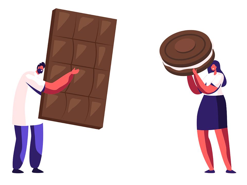 クッキーとチョコを持つ人