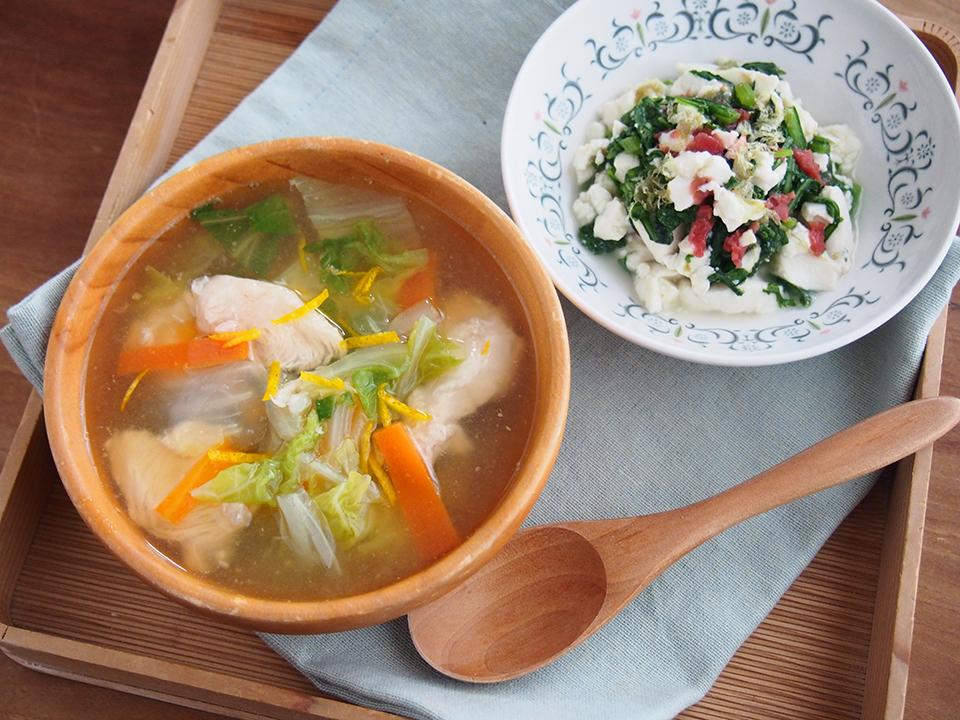 白菜と鶏ささみのくずたたき汁と、春菊と豆腐の梅昆布和え