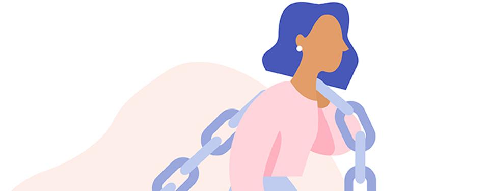 鎖をかつぐ女性