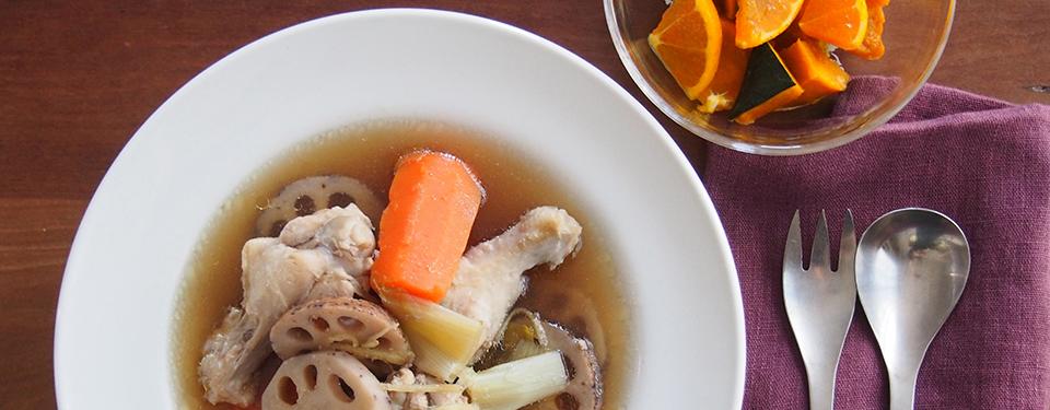 鶏と根菜のスープとかぼちゃとみかんのサラダ