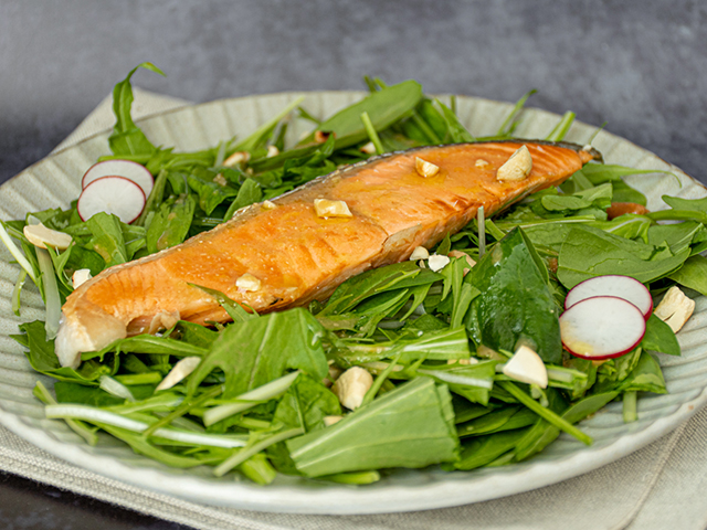 グリルドサーモンのサラダ with 柑橘味噌ドレッシング
