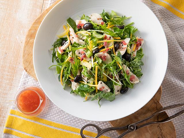 亜麻仁の恵み鶏のささみと黒豆の梅しそサラダ