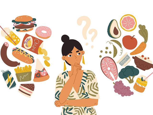 何を食べようか考える女性
