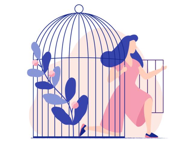 鳥かごから出る女性