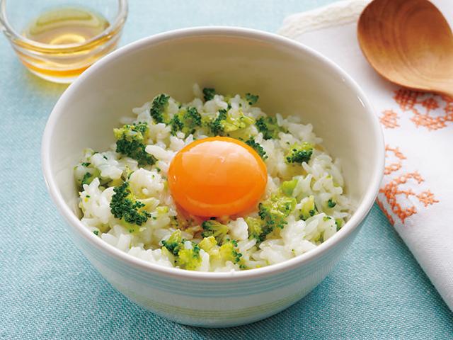 ブロッコリーライスの卵かけご飯