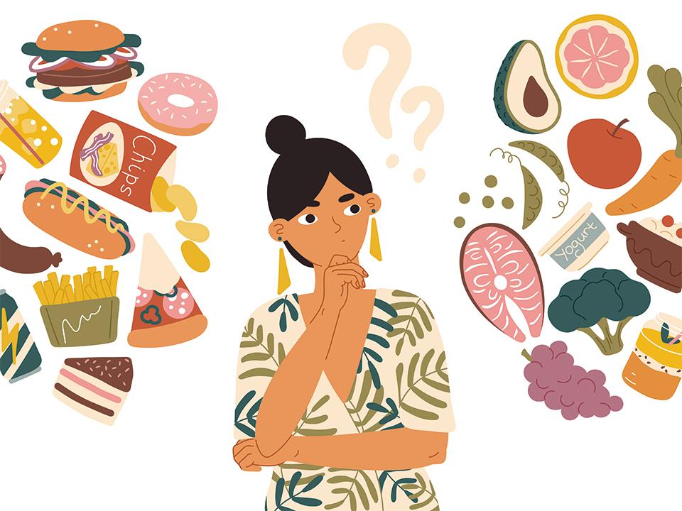食べ物に悩む女性