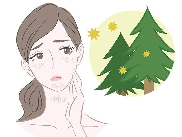 花粉症で肌がかゆい女性