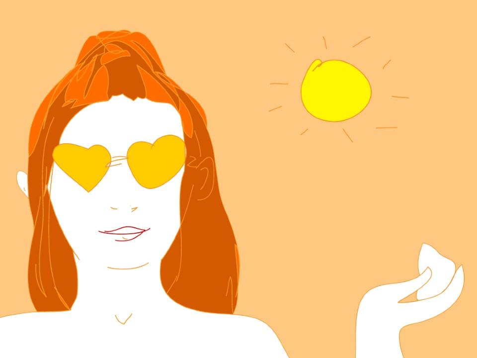 ハートのサングラスの女性と太陽