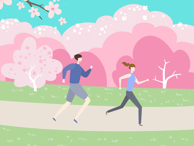 桜とランナー