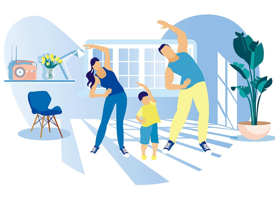 家族で自宅エクササイズ