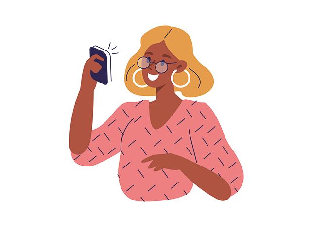 ビデオ通話をする女性