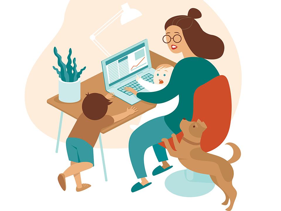 子どもとペットの世話をしながら在宅勤務する女性