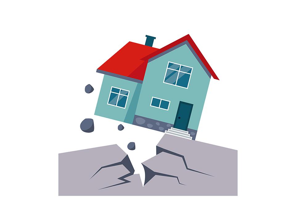 地震に遭う家