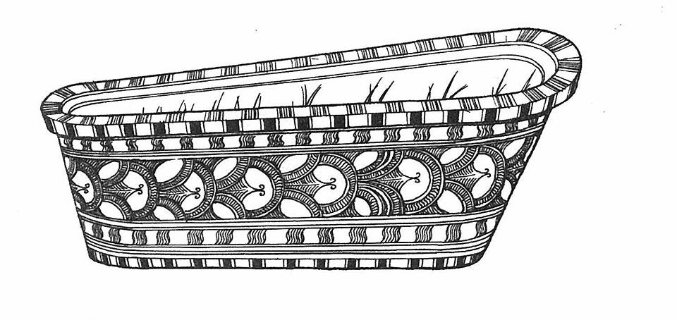 世界最古として知られる、テラコッタの装飾を施された浴槽