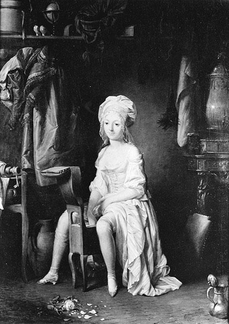 ビデにまたがった18世紀の女性