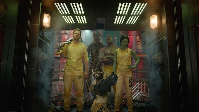 Marvel's Guardians Of The Galaxy L to R: Star-Lord/Peter Quill (Chris Pratt), Groot (Voiced by Vin Diesel), Rocket Racoon (Voiced by Bradley Cooper), Drax the Destroyer (Dave Bautista) and Gamora (Zoe Saldana).   ©Marvel 2014