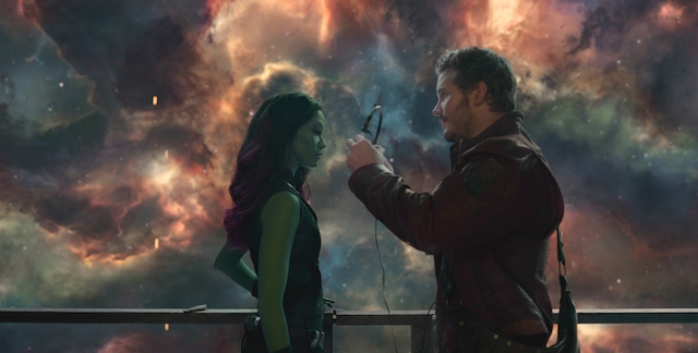 Marvel's Guardians Of The Galaxy L to R: Gamora (Zoe Saldana) and Star-Lord/Peter Quill (Chris Pratt) Ph: Film Frame ©Marvel 2014