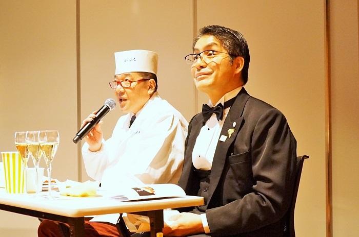 鮨きらく 大将戸川氏とアンリオアンバサダー情野氏