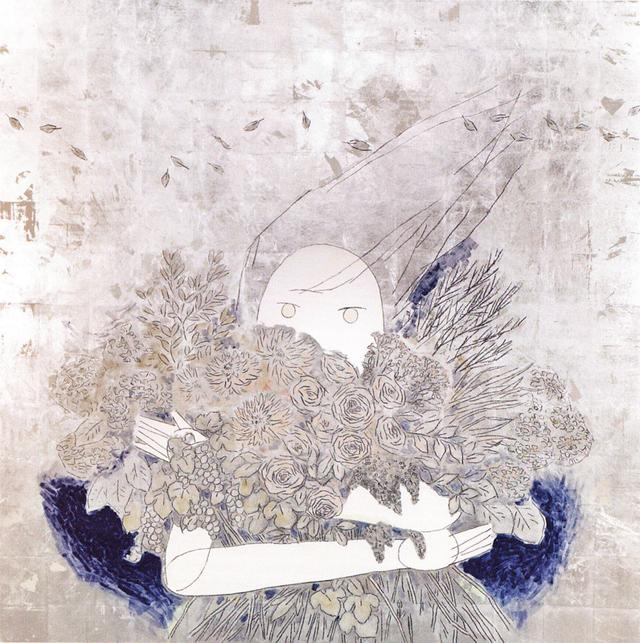蝦原由紀(加藤由紀)《ヤヌス》鳥の子紙に胡粉・箔・岩絵具・ダーマトグラフ、1620×1620mm、2014年