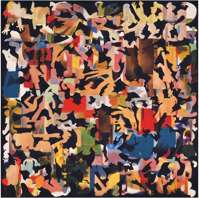 中村ケンゴ《自分以外》パネルに和紙、岩絵具、顔料、アクリル、樹脂膠、1455×1455mm、2014年