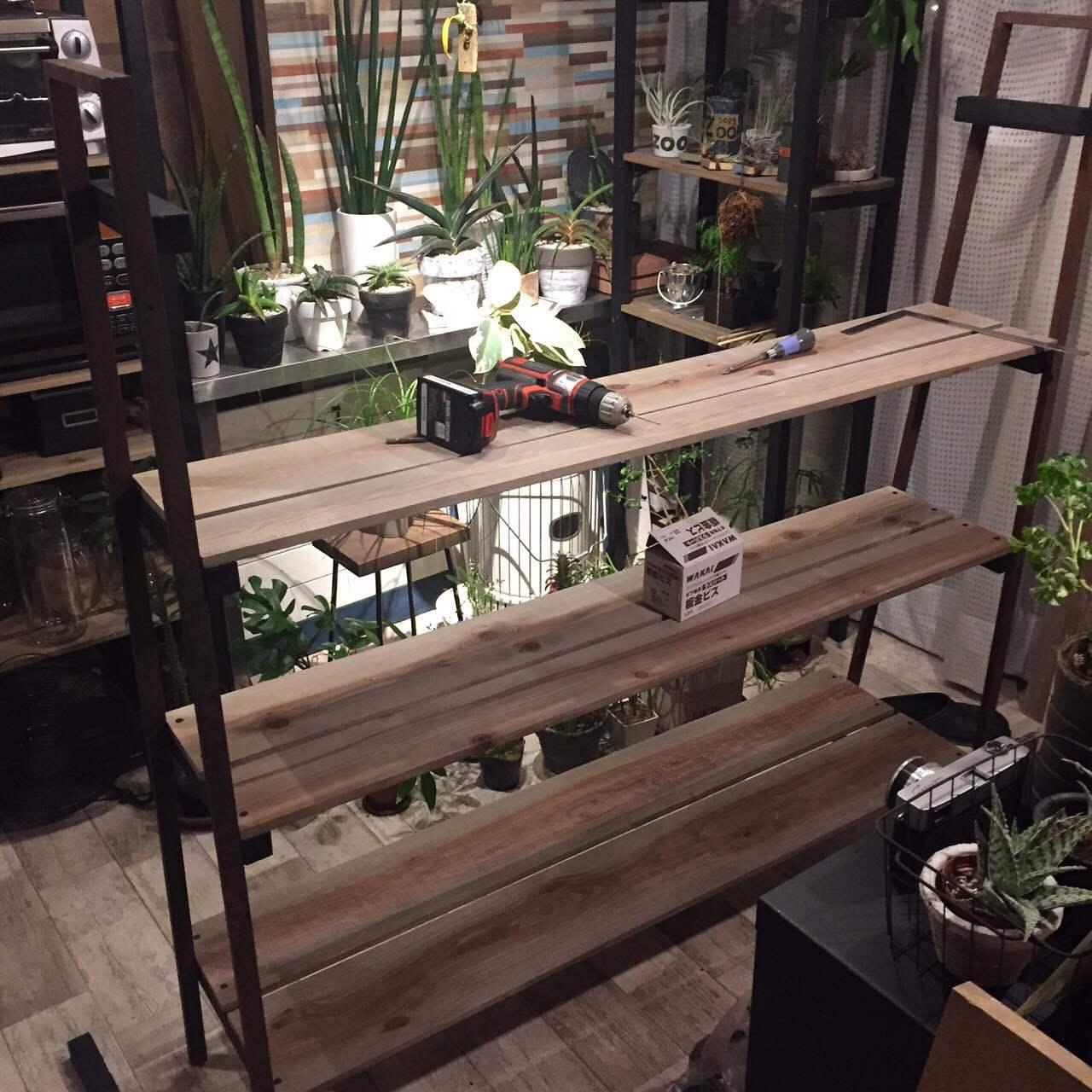IKEAの棚であるLERBERGを植物を飾るグリーンラックにDIY_3