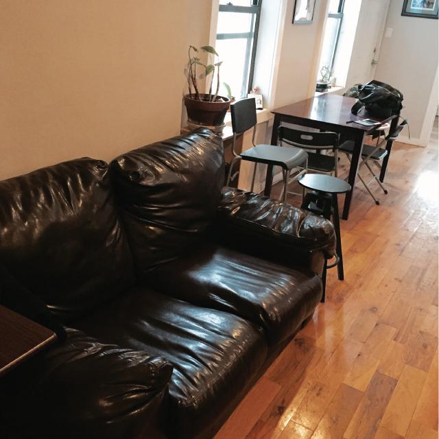 アメリカのニューヨーク・ブルックリンでルームシェアをしてパーティやDJを楽しむ暮らしのソファ