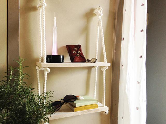 賃貸でも取り付けやすいロープと板を使ったかわいくて便利なオープン収納_5