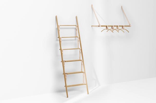 ロンドンの家具作り集団H Furnitureが手掛けるBELTシリーズは木材と革製のベルトを組み合わせた家具で、ラダーとハンガーラックがあります1