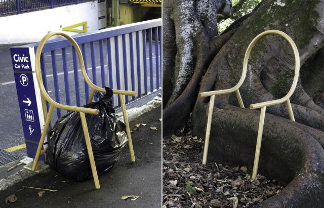 Armは、アメリカ産オーク材を曲げて作成した、座面のないフレームだけの椅子で、ニュージーランドのデザイナー、Clark Bardsleyさんによって制作されました。スツールと組み合わせれば、とたんにアームチェアに早変わりするスグレモノです3