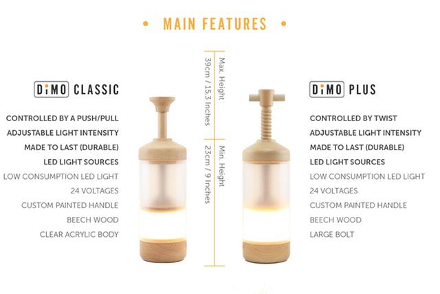 フレンチプレス式のドリッパーのようにハンドルの押し引きすることで光量が変わるおしゃれで不思議なランプ「Dimo」の紹介