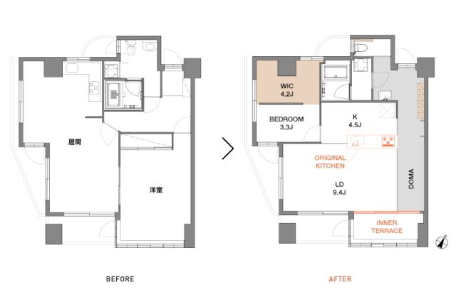 天井高と広さにこだわった中古マンションのリノベーション事例。「rough nude」をコンセプトにコンクリート現しや長い土間、インナーテラスなどで独特の空間を実現した、職場から近い夫婦二人住まいのゲストハウス的デザイン。3