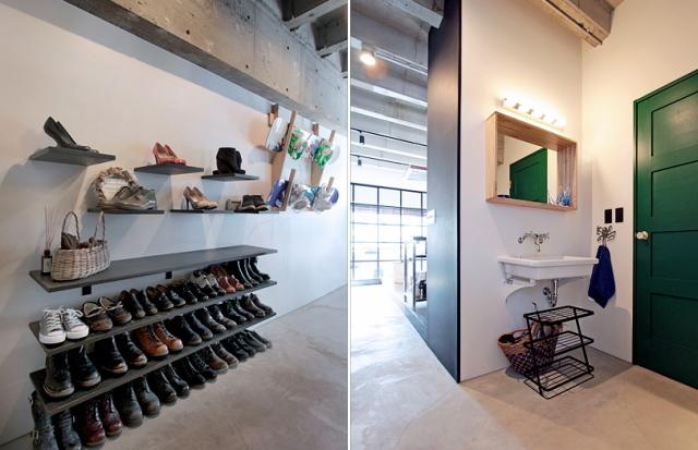 天井高と広さにこだわった中古マンションのリノベーション事例。「rough nude」をコンセプトにコンクリート現しや長い土間、インナーテラスなどで独特の空間を実現した、職場から近い夫婦二人住まいのゲストハウス的デザイン。5
