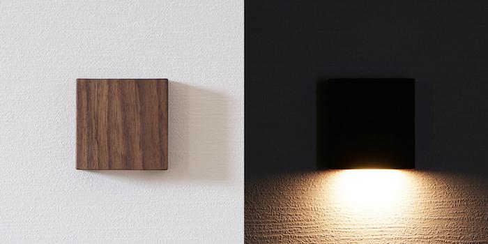 天然木の光センサー付き常夜灯「CALM」。両面テープフックを壁に貼るだけ、コンセント不要のUSBケーブル充電式なので、場所を選ばずに設置できます。停電時には非常灯としても使用できます。木目を楽しめる6.5cmのシンプルデザイン。top