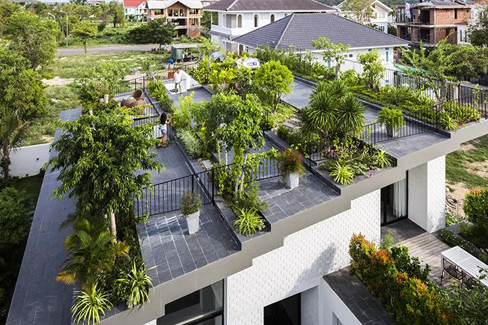 ベトナムのホーチミンとハノイにオフィスを構える設計事務所Vo Trong Nghia Architectsによる屋上に植物を植えて都会で自然が感じられるHoan House_top
