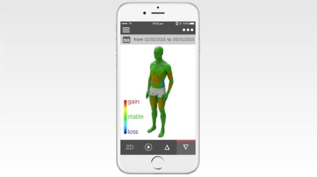 トレーニングやダイエットの成果がすぐにわかる、筋肉や脂肪の増減が一目でわかる、体を立体スキャンする体重計ShapeScale_4